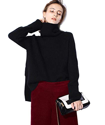 059ad52f9c1 FINCATI Cashmere Sweater Women Turtleneck Casual Loose Long Sleeve Ribbed  Elbow Asymmetrical Hem Black White