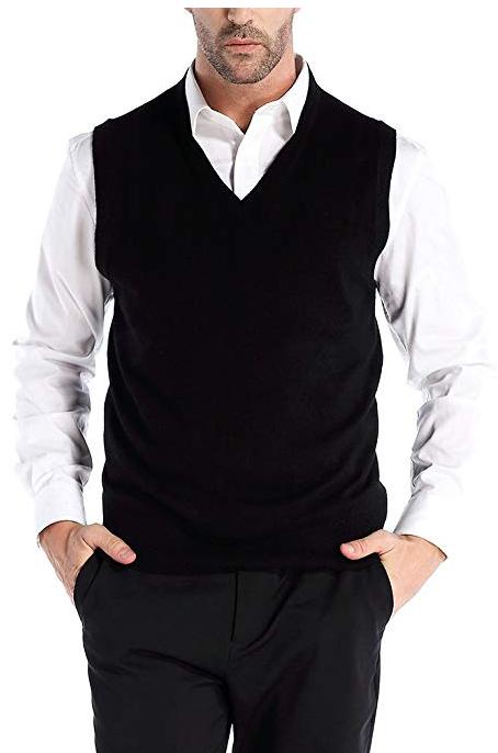 MOCOTONO Mens V-Neck Cotton Vest Casual Sleeveless Sweater