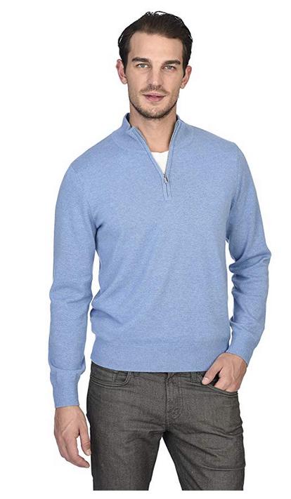 Williams Cashmere Mens Mock-Neck Stripe Sweater