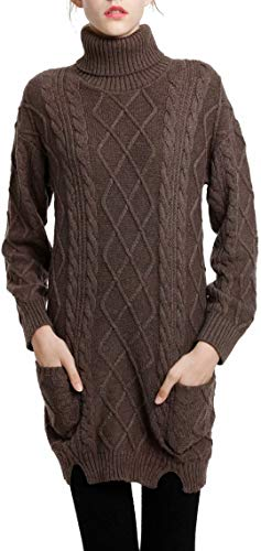 bf30a5fbf04 Liny Xin Women s Cashmere Knitted Turtleneck Long Sleeve Winter Wool  Pullover Long Sweater Dresses Tops