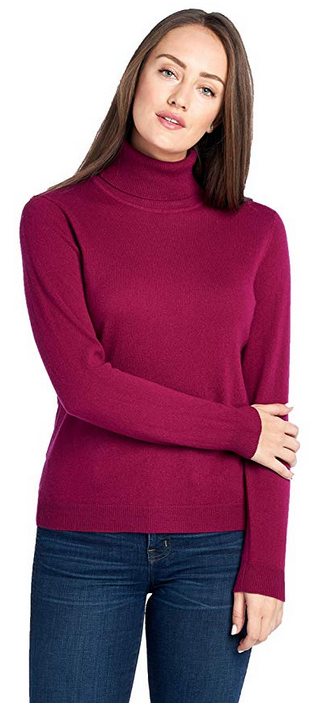 7d868d803cf Mariyaab Women s 100% Cashmere Soft Long Sleeve Turtleneck Sweater ...