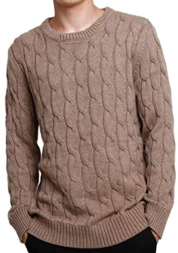 906fd1ebe93 Liny Xin Men s Knitted Cashmere Wool Casual Crew Neck Long Sleeve Loose  Winter Warm Pullover Sweater Tops