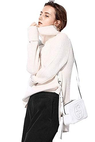 951fc494d18 Women winter sweater turtleneck cashmere Casual Loose Long Sleeve Ribbed  Elbow Asymmetrical Hem Pullover
