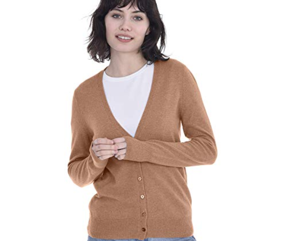 b5b50fc1f96aaf Cashmeren Women's 100% Pure Cashmere Button Front Long Sleeve V Neck  Cardigan Sweater